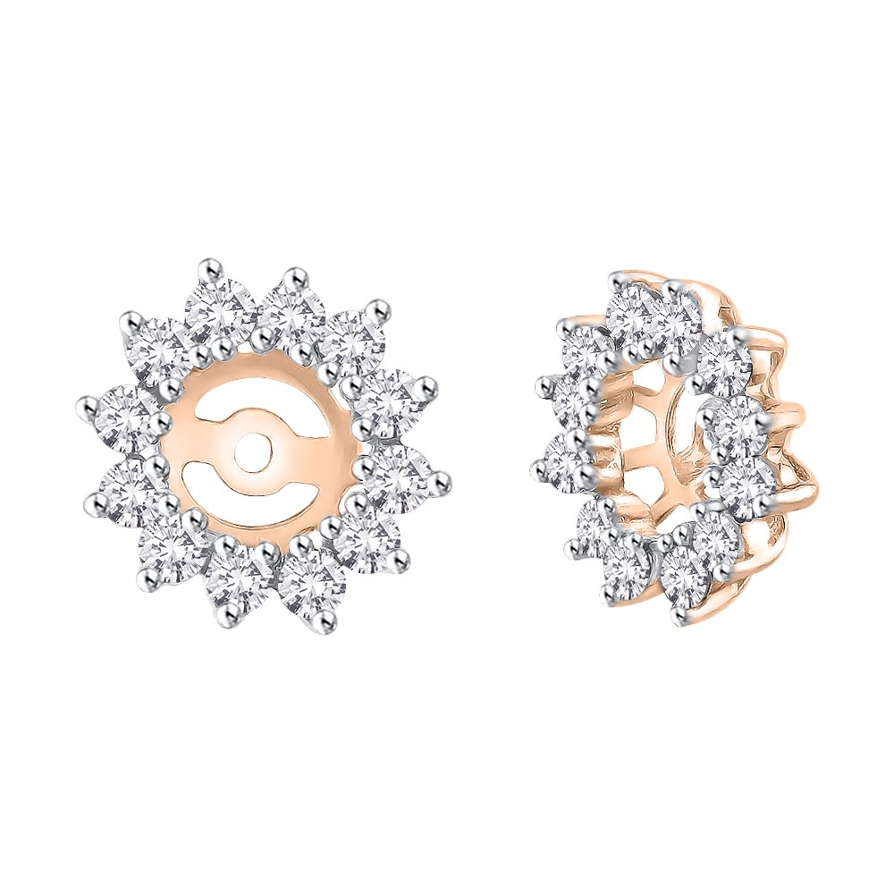 Diamond Floral Earring Jackets in 14K Rose Gold (1 cttw) (Color JK, Clarity SI3)