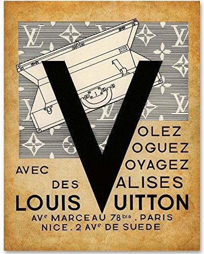 Tag Louis Luggage Vuitton (Louis V - 11x14 Unframed Art Print - Great Gift for Bedroom or Bathroom Decor)