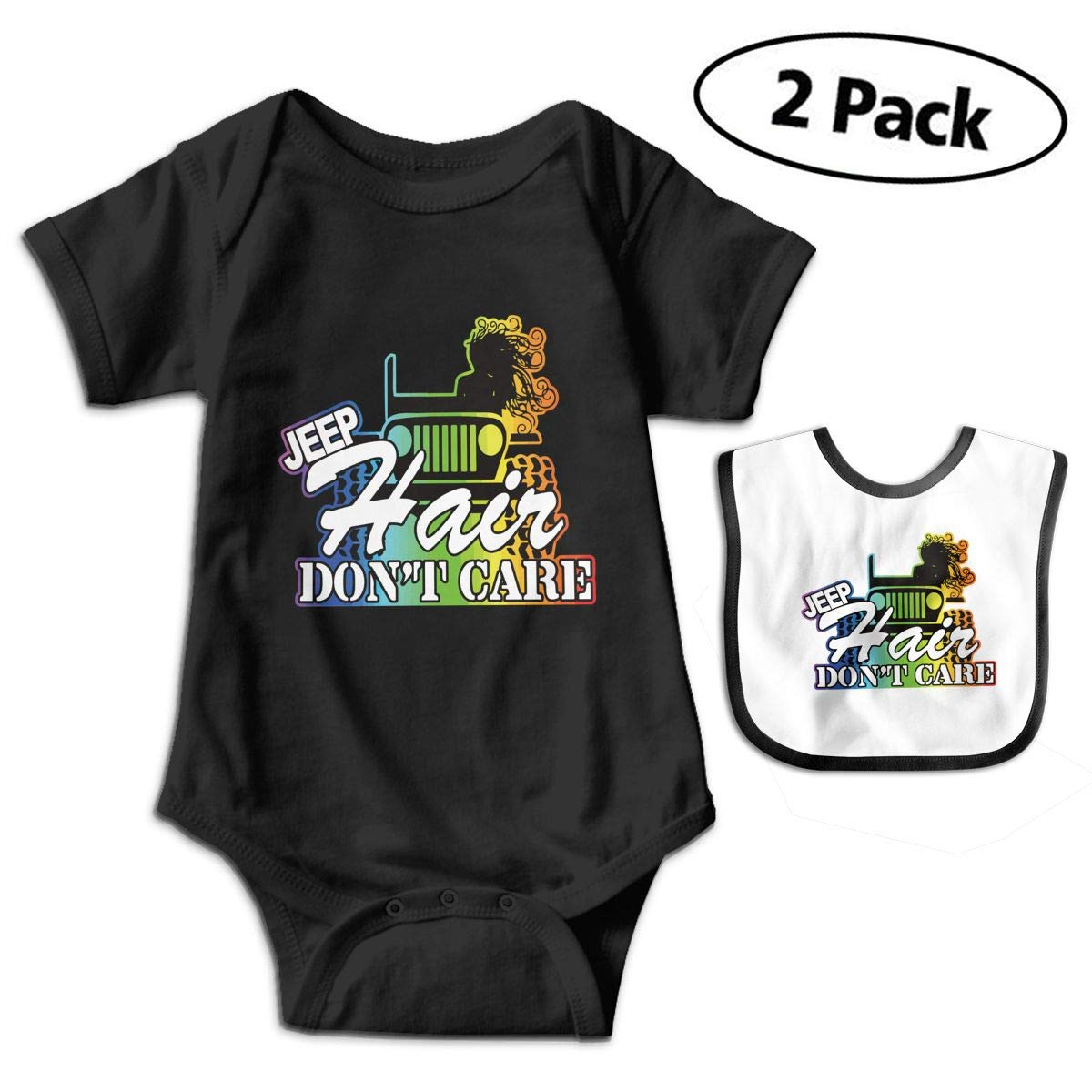 Jeep Hair Dont Care Infant Baby Boys Girls Short Sleeve Romper Bodysuit Outfit Clothes