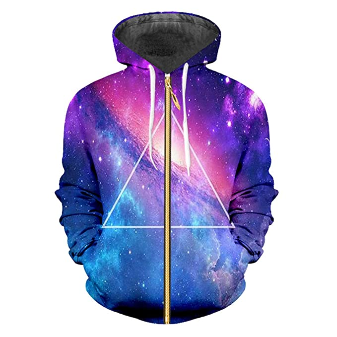 Colored Starry Sky Mens Sports Zip Hoodies Geometric Triangle 3D Full Printed Zipper Tops Casual Man Clothes