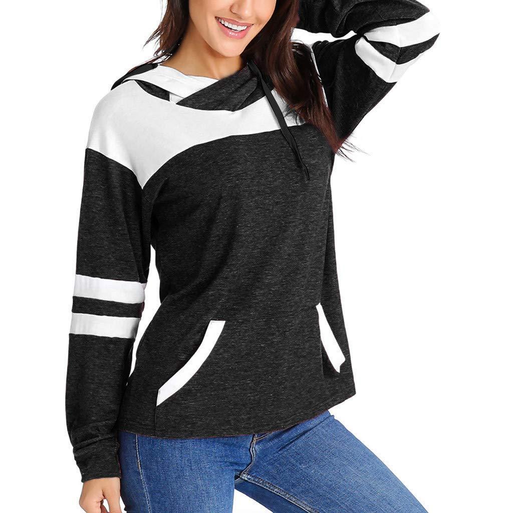 Ularma 2019 Women Color Block Patchwork Long Sleeve Hoodies Women Casual Sweatshirt