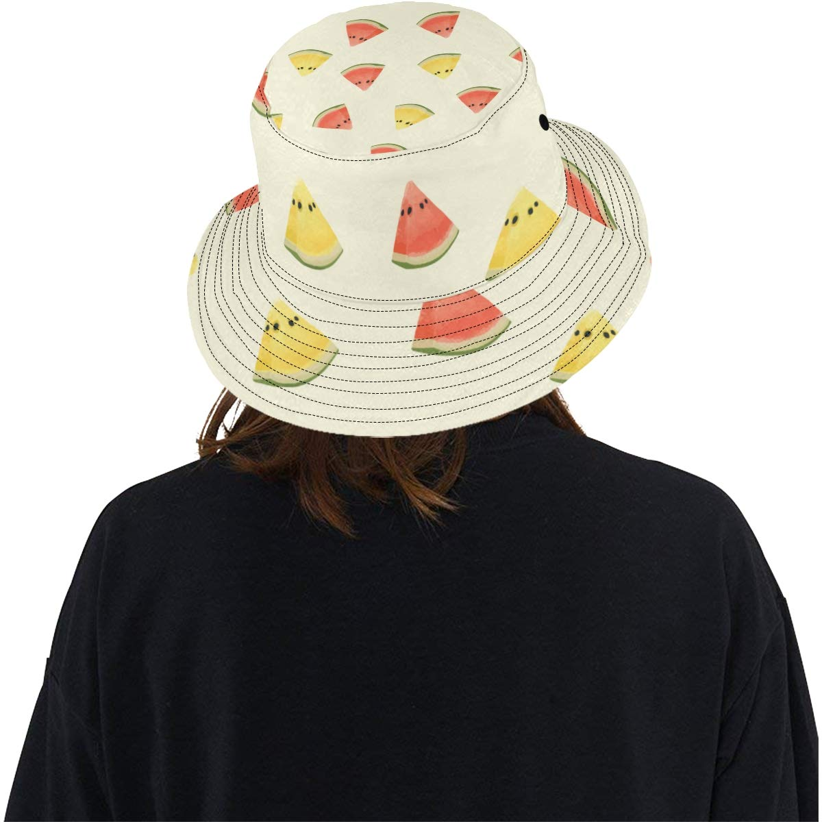 Women and Men with Customize Top Packable Fisherman Cap for Outdoor Travel Watercolor Yellow Watermelon New Summer Unisex Cotton Fashion Fishing Sun Bucket Hats for Kid Teens