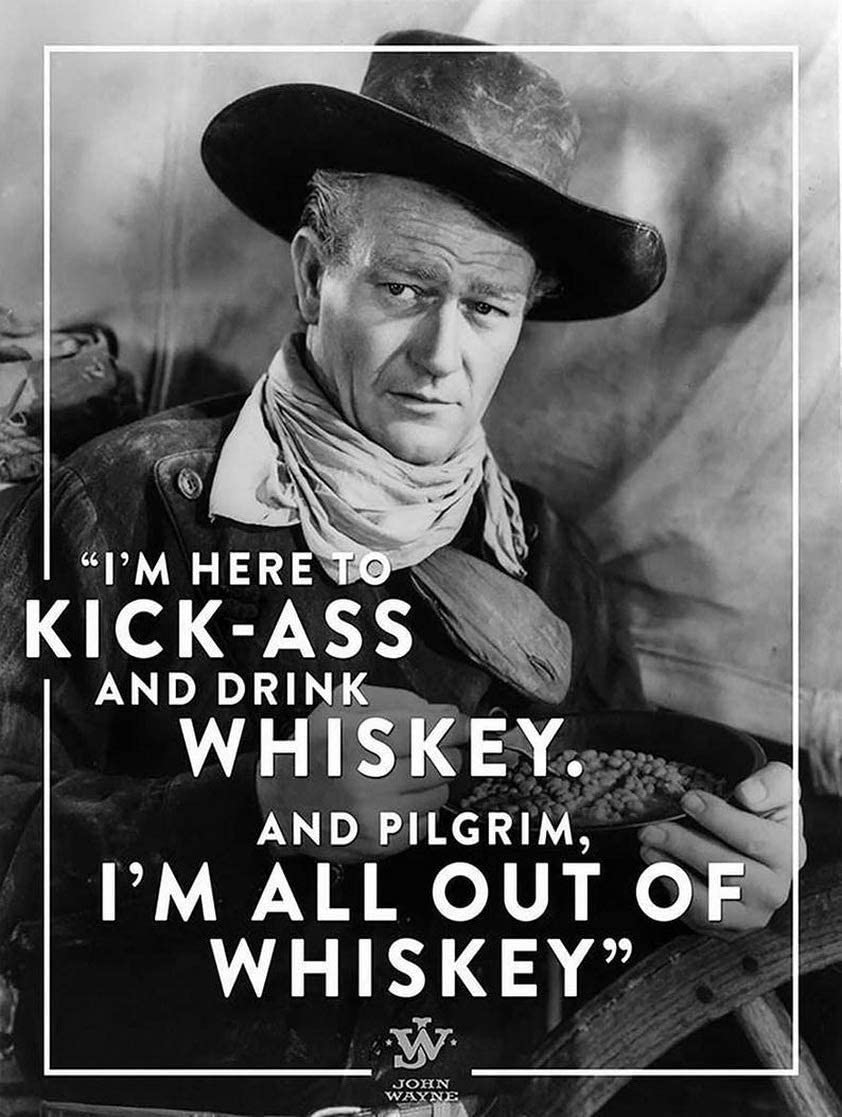 Liesin Pokoko Tin Sign Wall Decoration Retro Style John Wayne Drink Whiskey and Kick Ass Personalized bar Wall Decoration Plaque Metal tin 8 inchx12 inch