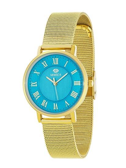Reloj Marea Mujer B21163/8 Dorado Esterilla Esfera Azul: Amazon.es: Relojes