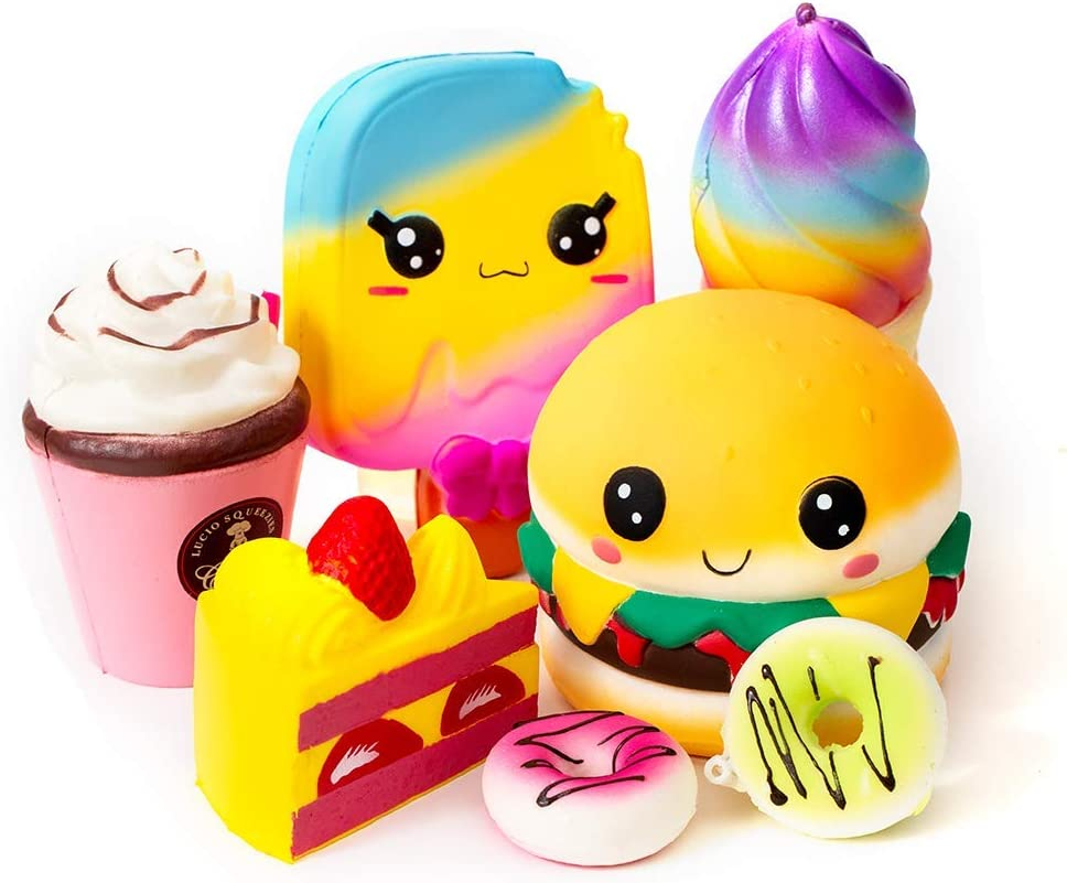 SYYISA Jumbo Squishies Slow Rising [7-Pack]: Ice Cream, Hamburger, Cake, Ice Lolly, Donut, and Frappuccino Kawaii Soft Food Squishy Toys - Squishys are Great Sensory Toys for Kids!