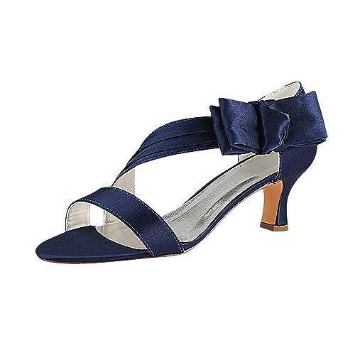 237bd893 Emily Bridal Zapatos de Boda de Champagne Sandalias Nupciales de satén con Punta  Abierta y tacón