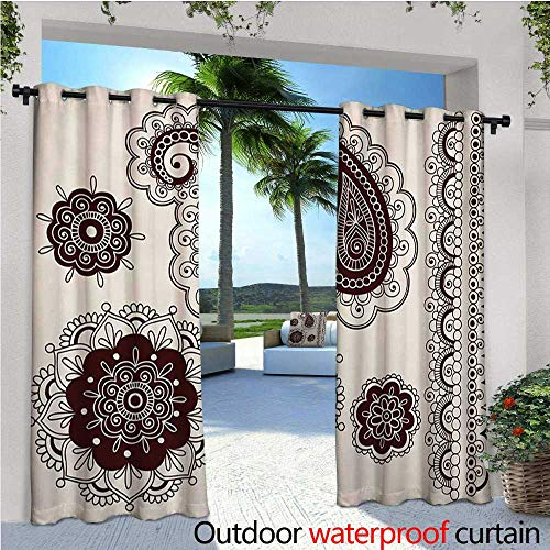 homehot Henna Exterior/Outside Curtains Intricate Hand Drawn Tattoo Paisley Doodle Eastern Culture Inspired Design for Patio Light Block Heat Out Water Proof Drape W84 x L96 Dark Brown Cream