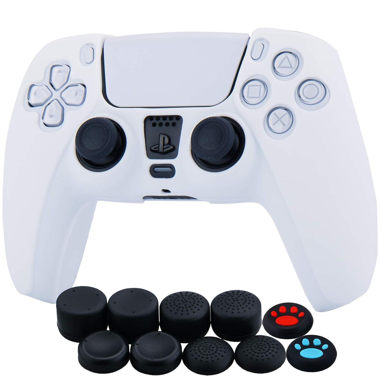 Yorha Silikon Hülle Skin Case Für Sony Ps5 Dualsense Controller Weiß X 1 Mit Aufsätze Kappen X 10 Games