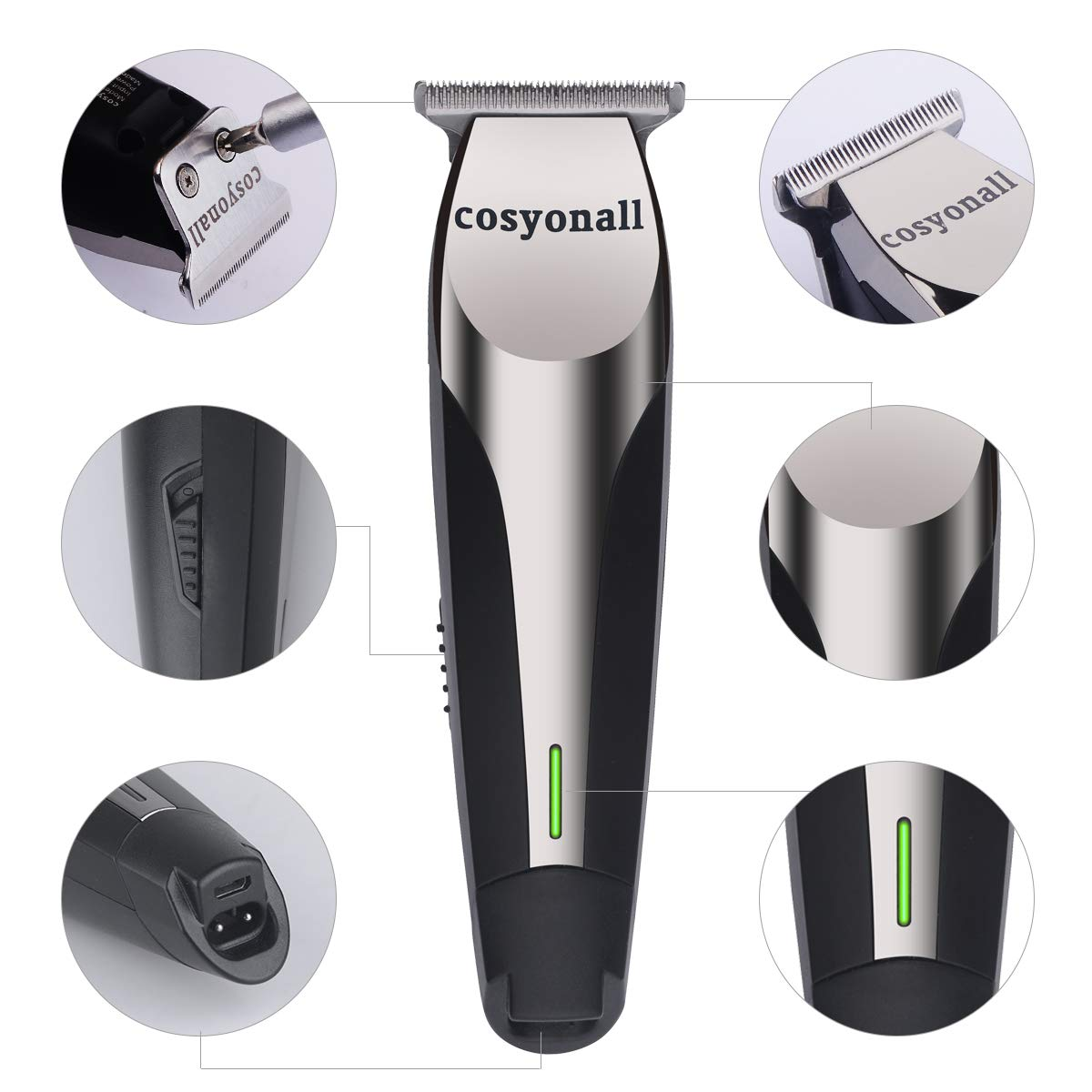 Cosyonall Pro Outliner Hair Beard Trimmer Kit USB Rechargeable Hair Clippers T-Blade Cordless body Grooming Trimmer Kit of Mustache Trimmer,Lithium Ion,Guide Combs
