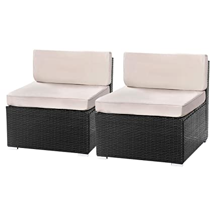 U-MAX 1-14 Pieces Patio sectional Sofa Set (2 Pieces, Black)