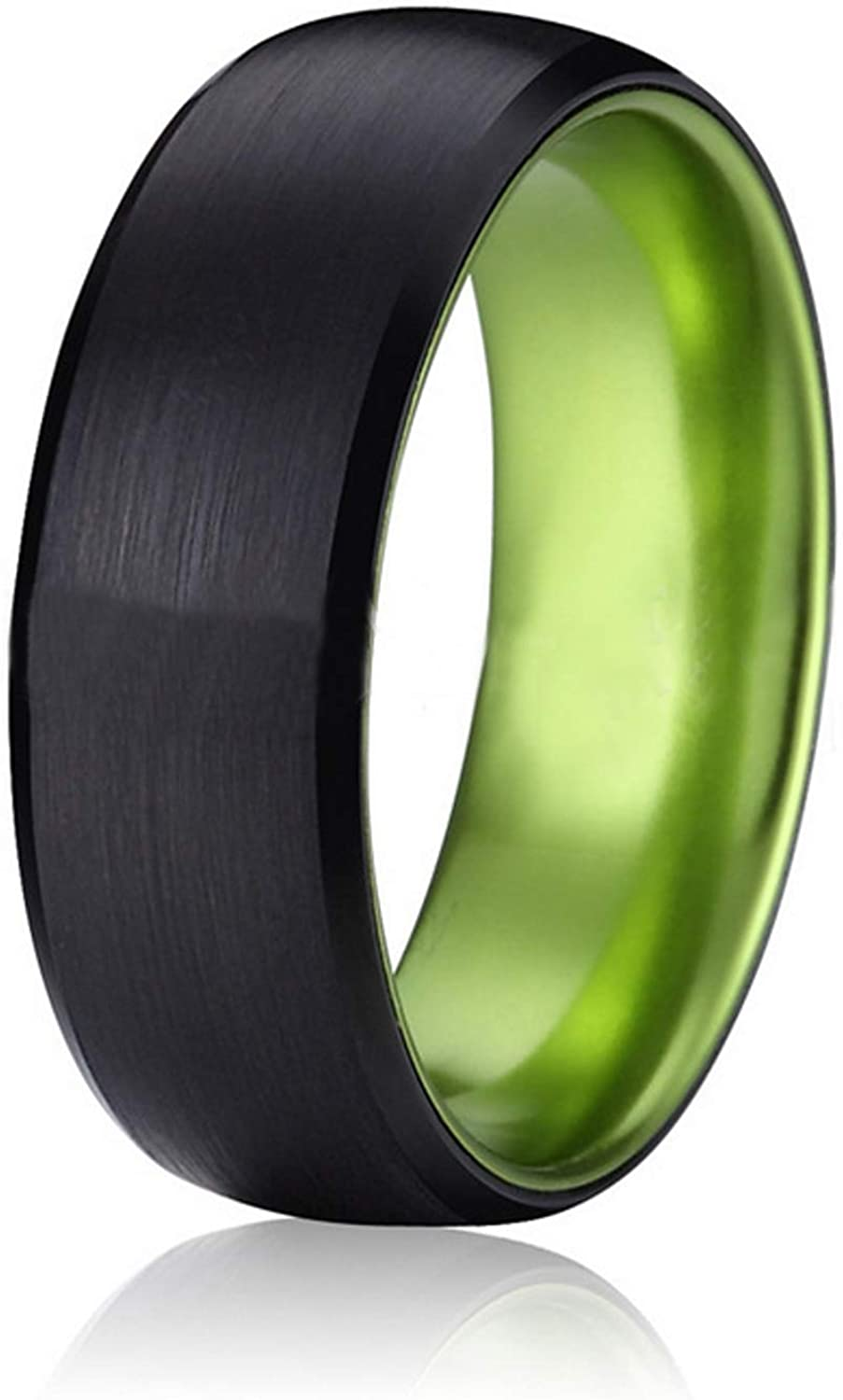 Castal Jewelry 8MM Tungsten Carbide Ring Purple and Green Dome Brushed Polished Wedding Band for Men Women