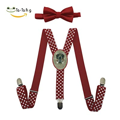 Big Face Skull Adjustable Suspenders And Pre-Tied Bowtie Set For Kids Casual And Formal