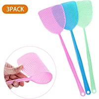 Fly Swatter, 17.5''Plastic Indoor with Durable Long Handle (3pack, 3color)