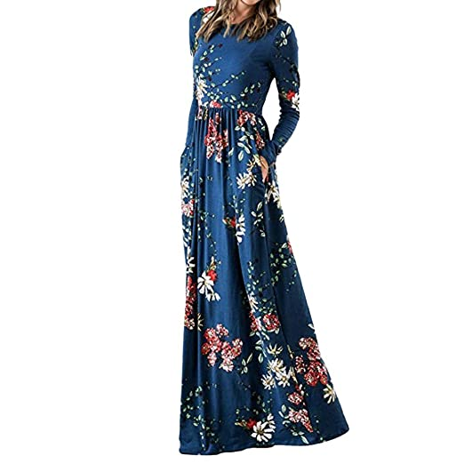 JESPER Womens Boho Floral Print Long Sleeve Pockets Empire Waist Pleated Long Maxi Dresses Blue