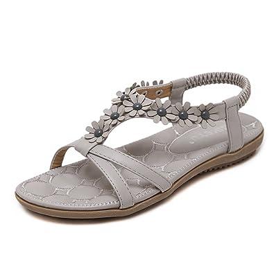 929b12e65 Lisianthus Women Beach Grey Floral Sandals US 4