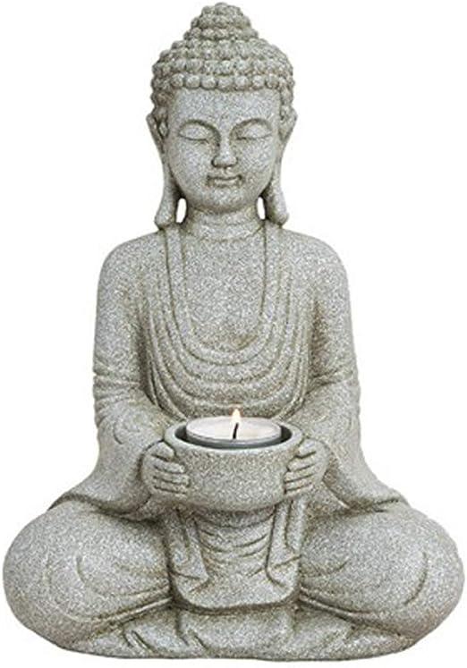 WoMa – Figura de Buda con portavelas, decoración para Hogar Casa y jardín, 27 cm de altura, impermeables Escultura de polirresina, color gris: Amazon.es: Juguetes y juegos