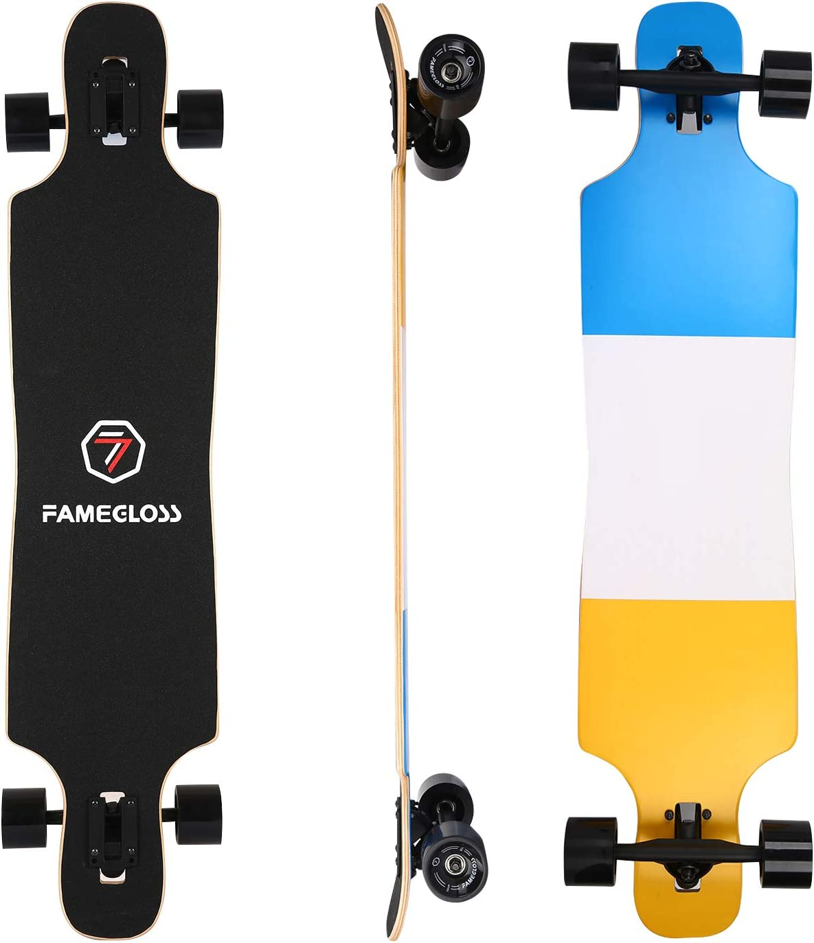 FAMEGLOSS Longboard Skateboard 42 inch Drop Through Deck Complete 7-Ply Maple Cruiser Freestyle, Concave Skateboard Cruiser for Kids Youth Adults