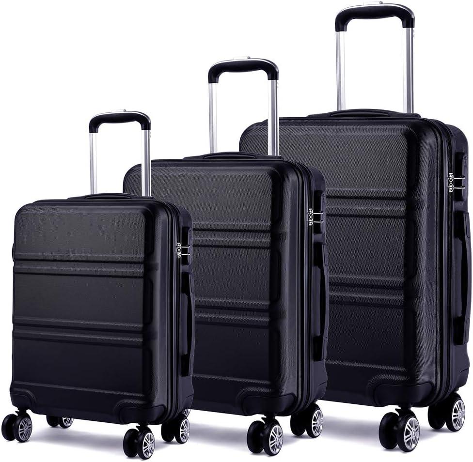 Kono Juego Set 3 Maletas Trolley Rígida ABS Equipajes de Viaje (55cm,66cm,74cm)-Negro
