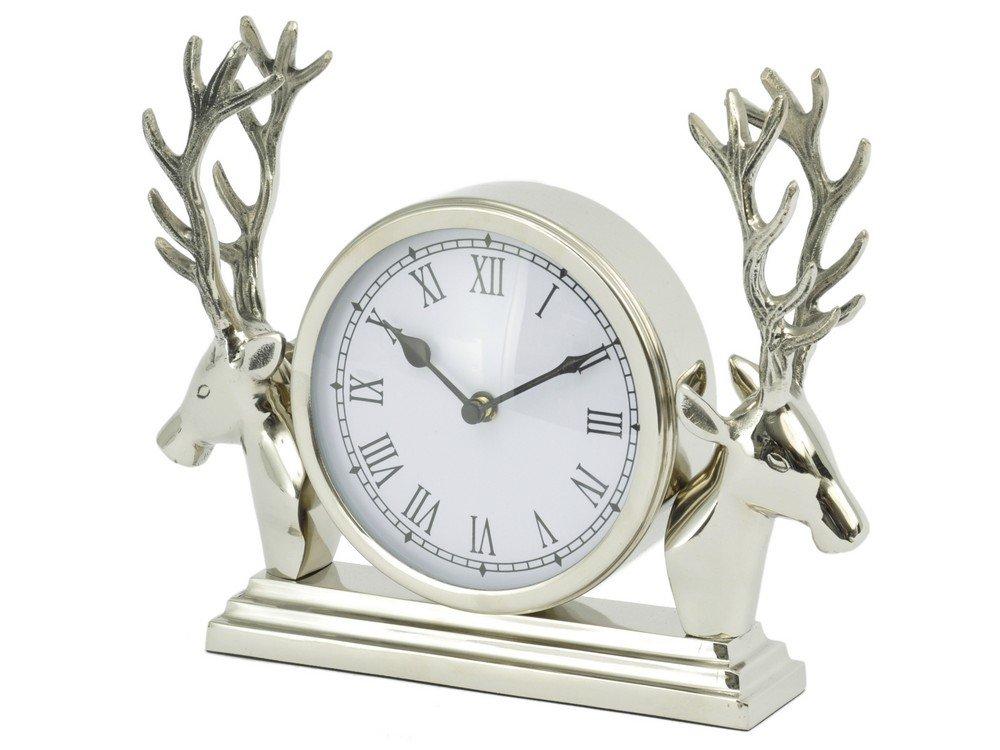 Glentory Stag Head Silver Metal Mantel Clock Artisanti