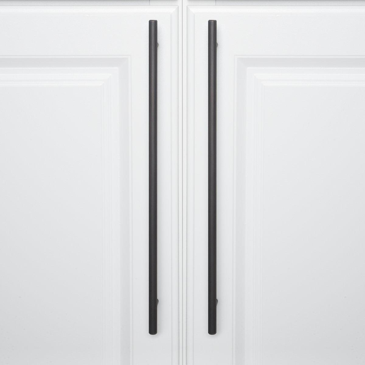 25-Pack Basics Euro Bar Cabinet Handle 3//8 Diameter 5.38 Length 3 Hole Center Satin Nickel