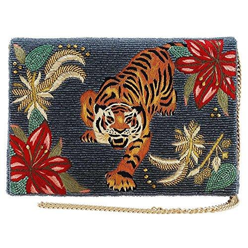 Clutch Tiger (Mary Frances Fierce Beaded-Embroidered Tiger Crossbody Clutch Handbag, Multi)