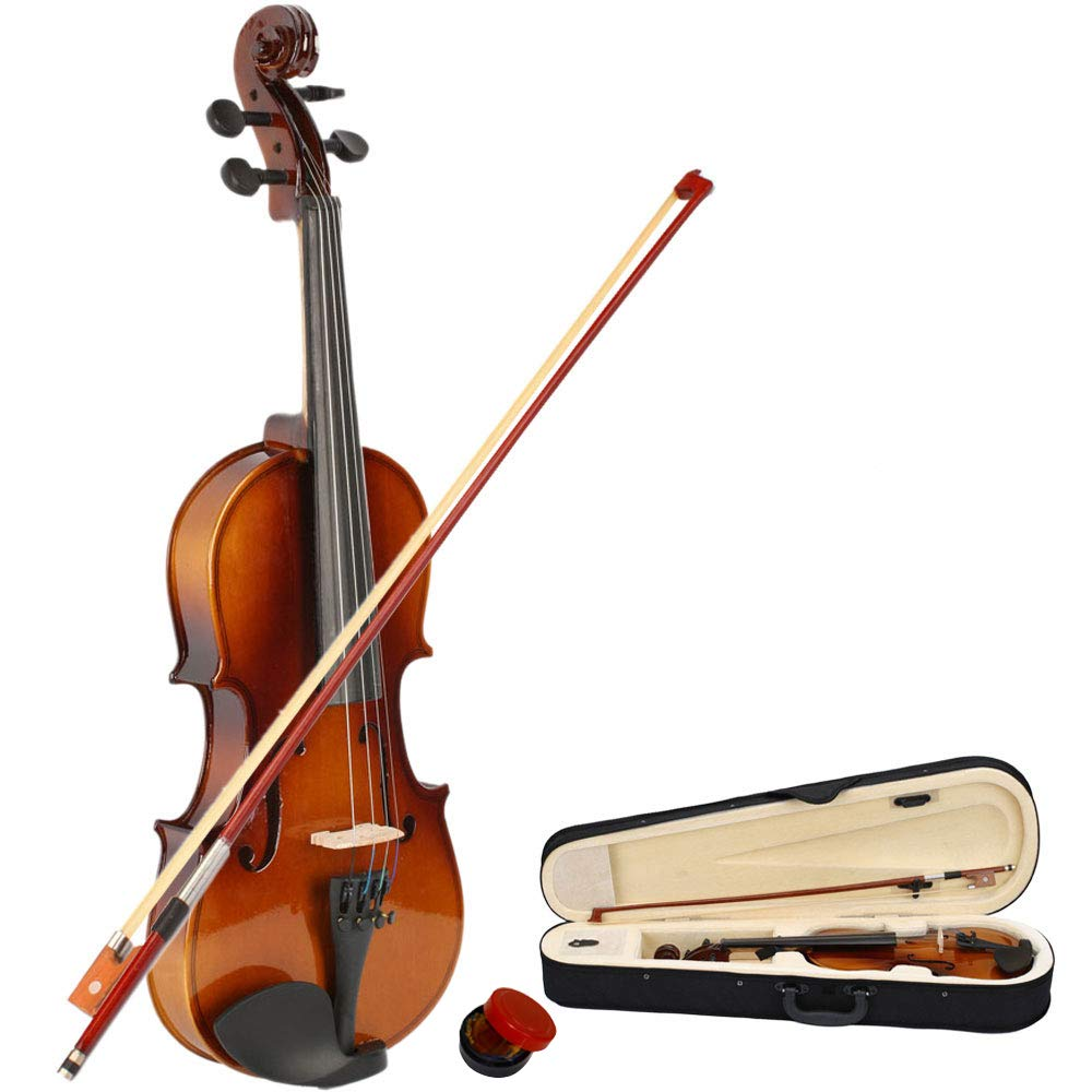 2019 New 1/2 Size Violin Case Acoustic Violin Case Durable Natural Solid Wood Fiddle for Beginners and Students w/Case, Bow and Rosin(US Stock) 61ExnbTVTOL
