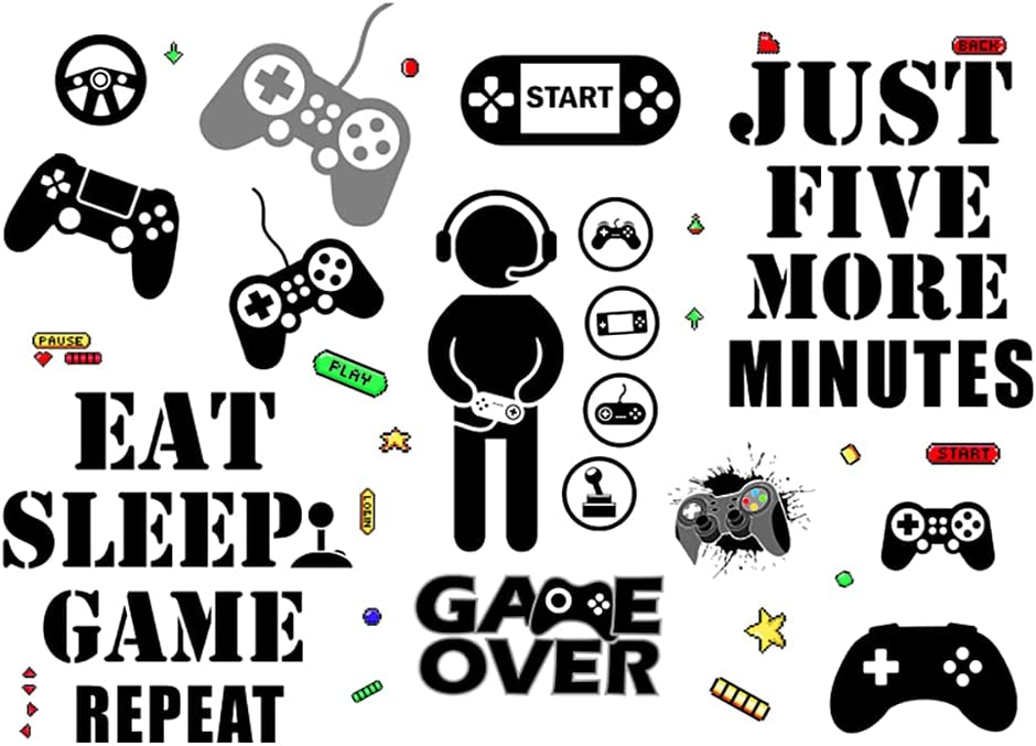 36 Pieces Creative Video Game Room Decor Exellent in Gamer Girl Accessories and Posters for Boys Bedroom, Wall Decals Decorations for Playroom Kids Room Teens Room