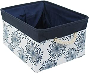 "uxcell Storage Basket Bin with Cotton Handles, Fabric Storage Bins with Drawstring Closure for Clothes Towel Toys Organizer (Small - 12.2"" x 8.3"" x 5.1""), Blue Gypsophila"