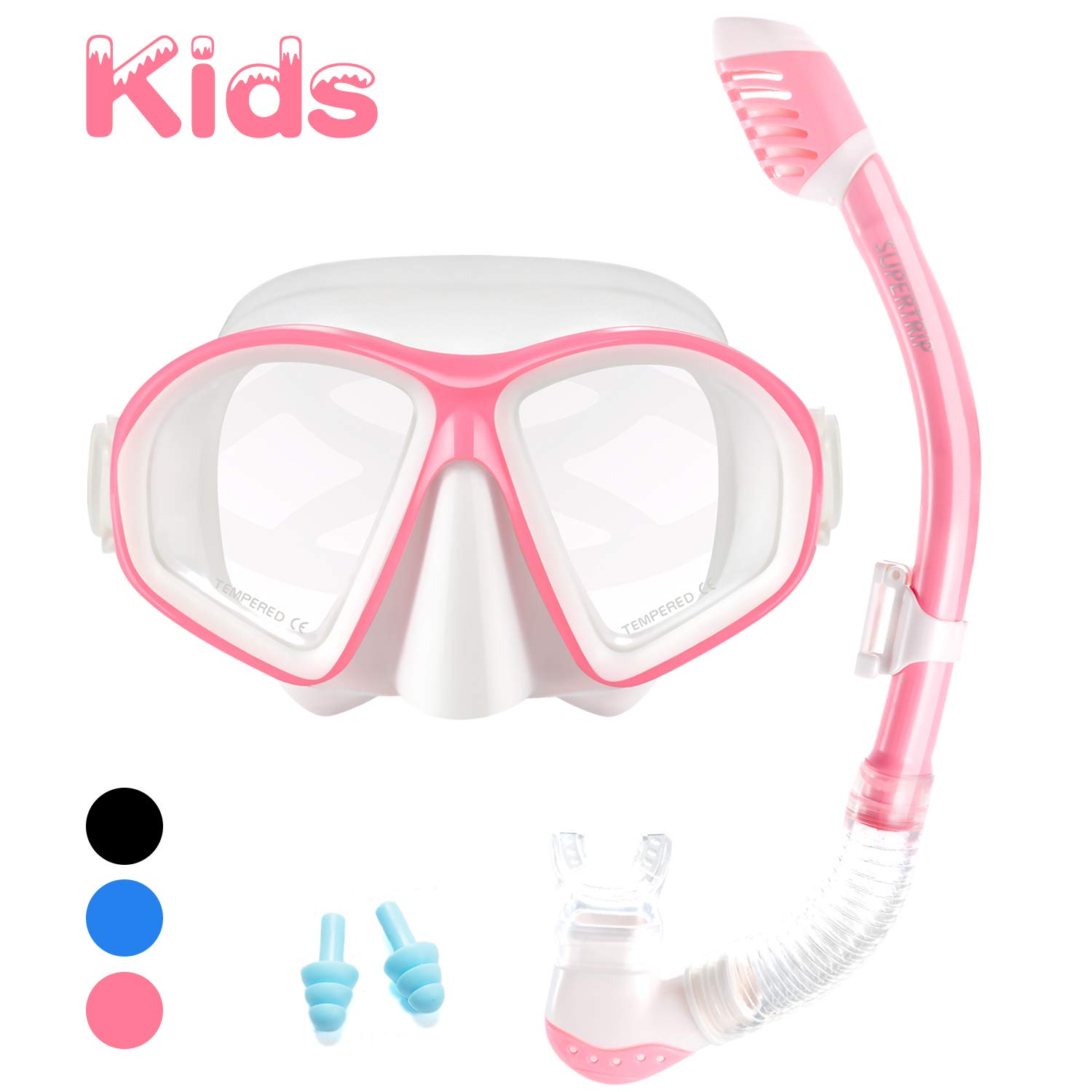 Supertrip Kids Snorkel Set-Scuba Dry Top Diving Mask Anti-Leak Impact Resistant Panoramic Tempered Glass Easybreath Snorkeling Packages Professional Swimming gear for Youth Boys and Girls (White pink) by Supertrip
