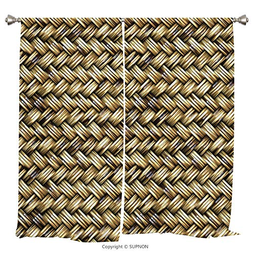 Rod Pocket Curtain Panel Thermal Insulated Blackout Curtains for Bedroom Living Room Dorm Kitchen Cafe/2 Curtain Panels/108 x 95 Inch/Abstract,Rattan Basket Weave Pattern Natural Boho Country Style -
