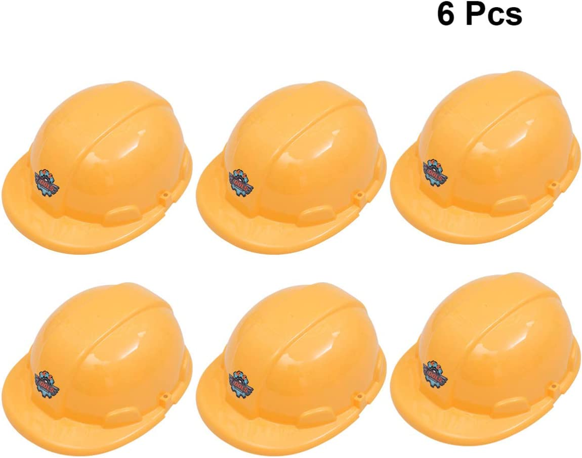 Toyvian 6 Pcs Kids Construction Hat Theme Party Yellow Construction Hard Hats for Children Role Play