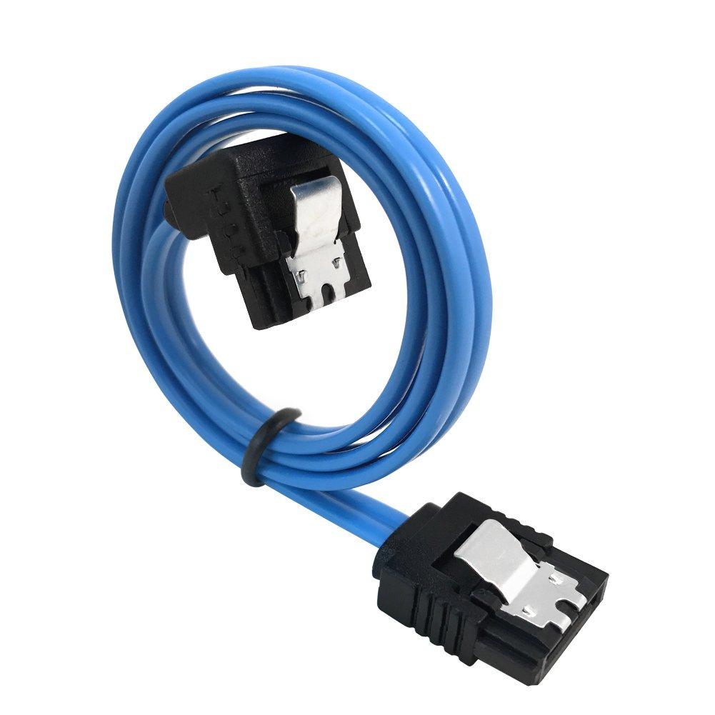 Blue A NeeyerTech 3 Pack Straight 18-Inch SATA III 6.0 Gbps Cable with Locking Latch