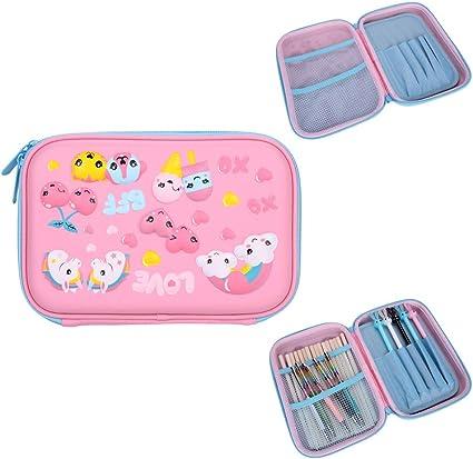 Estuche para lápices con múltiples compartimentos, bolsa para lápices de goma EVA duradera, estuche organizador de gran capacidad para la escuela, estudiantes, niñas, niños, adolescentes y niños, color rosa: Amazon.es: Oficina y