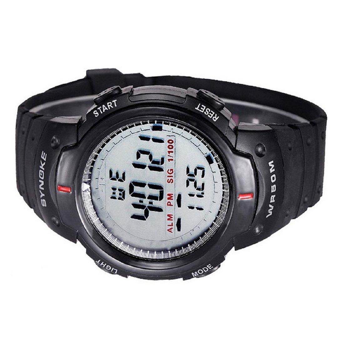 Hombres deportes Reloj - SYNOKE Hombres digital Reloj LED deportes cuarzo alarma fecha reloj de pulsera (negro): Amazon.es: Relojes