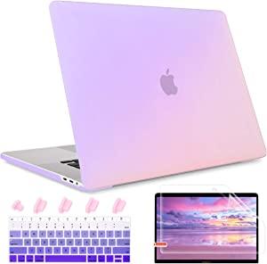 Maychen MacBook Air 13 inch Case 2020 2019 2018 Release A1932 A2179 with Retina Display,Plastic Hard Shell case Screen Protector+Keyboard Cover for Newest Air 13 with Touch ID,Gradient Purple
