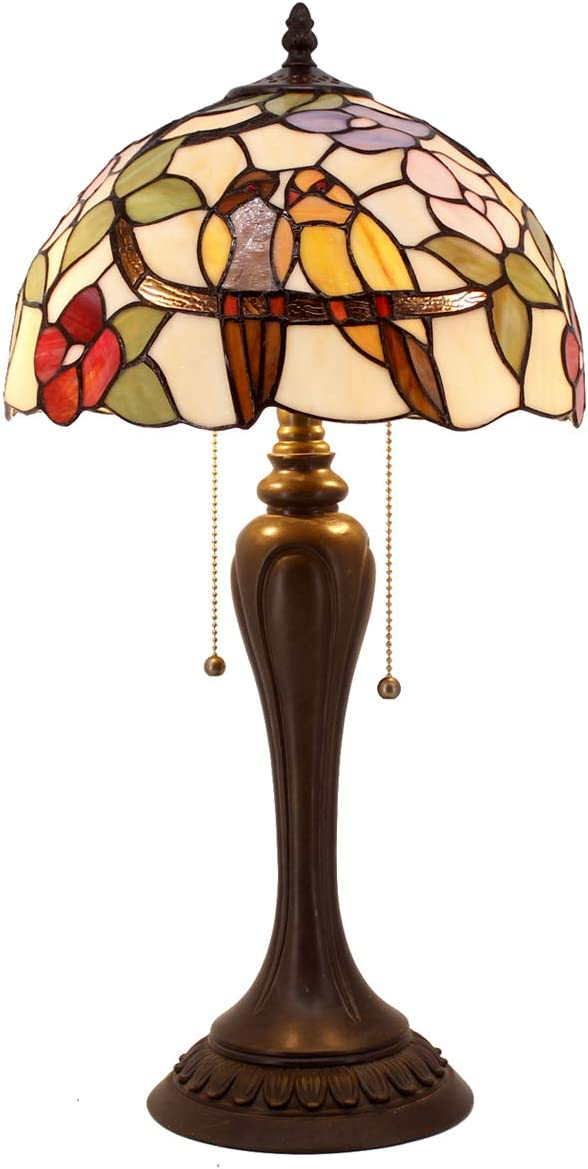 Tiffany Table Lamp Stained Glass Double Tropical Birds Table Lamps Wide 12 Height 22 Inch for Living Room Antique Desk Beside Bedroom with Antique Style Zinc Base S803 WERFACTORY