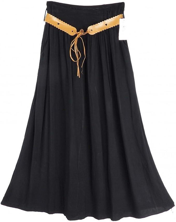 Falda de boca ancha Camilla larga negro: Amazon.es: Ropa y accesorios