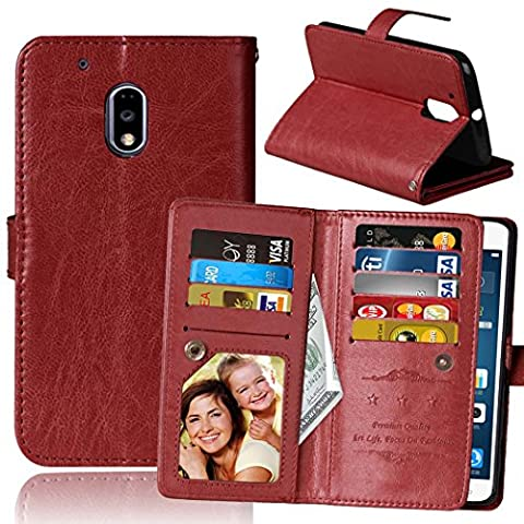 Moto G4 Play Case, Moto G Play Case, SUMOON Luxury Fashion PU Leather Magnet Wallet Credit Card Holder Flip Case with Built-in 9 Card Slots & Stand For Motorola Moto G4 Play/Moto G Play - Crystal Quilted Jacket