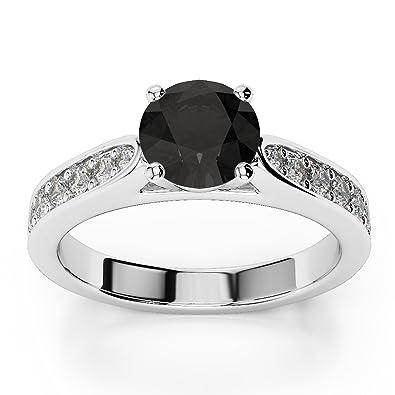 bellissimo aspetto attraente e resistente acquista per il meglio Anello di fidanzamento con solitario di diamante nero (da 1 ...