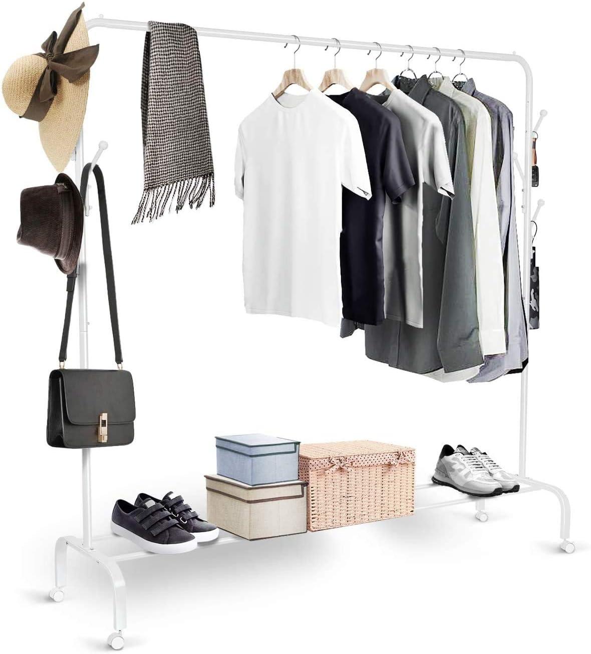 YORKING Kleiderst/änder Kleiderstange Rollgarderobe Garderobenst/änder Aufbewahrung Metall f/ür Schlafzimmer Flur