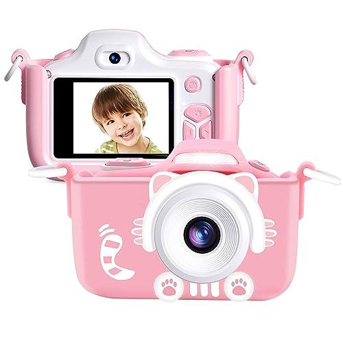 Kriogor Cámara de Fotos para Niños Juguete Digital Cámara Zoom Selfie Flash 2 Pulgadas 16MP 1080P HD Niño Niña Cumpleaños Tarjeta Micro SD Incluida