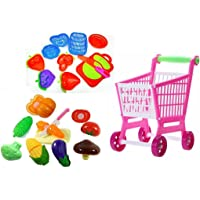 HALO NATION Toddler Fruits Vegetables Food Trolley Toy Supermarket Children Kids Shopping Cart Pretend Play Toy Kit and Foods Learning Play Set