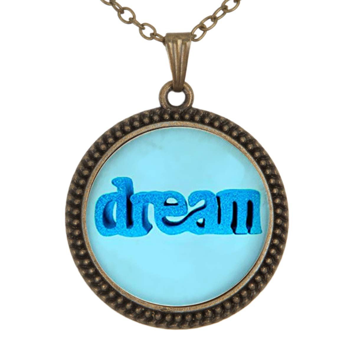 Family Decor English Word Blue Dream Pendant Necklace Cabochon Glass Vintage Bronze Chain Necklace Jewelry Handmade