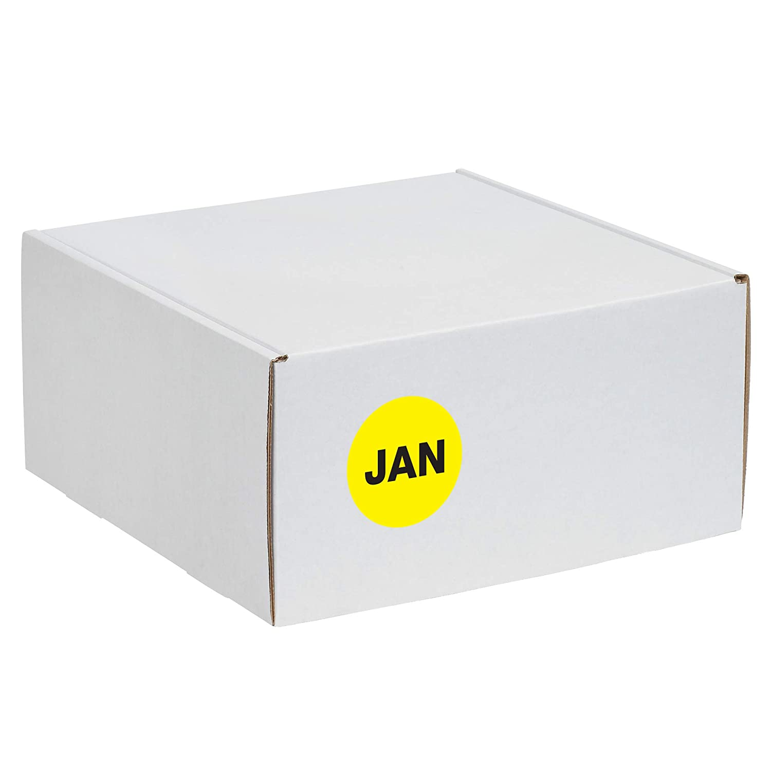 1 Circle Fluorescent Yellow 1 Roll 500 Labels Per Roll JAN Months of The Year Labels//Stickers