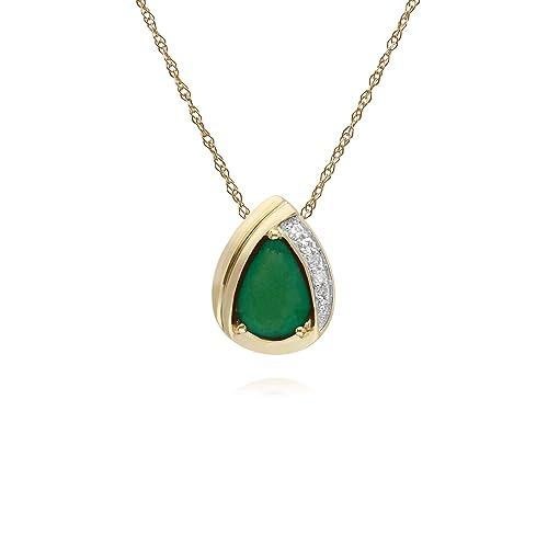 nuovo prodotto 38881 e28da Gemondo smeraldo collana in oro giallo 9 carati, smeraldo ...