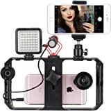 Ulanzi Smartphone Video Rig + Mini Video Light + BY-MM1 Shotgun Microphone + Mini Ball head Tripod Mount + Remote Control Kits with Cold Shoe Tripod Head For iPhone X 8 6 plus, Galaxy, Huawei, Xiaomi Youtube Vlogging