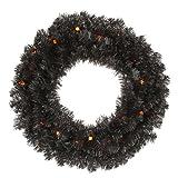 Vickerman Pre-Lit Pine Wreath with 20 Orange G12 Berry LED Lights, 24-Inch, Black