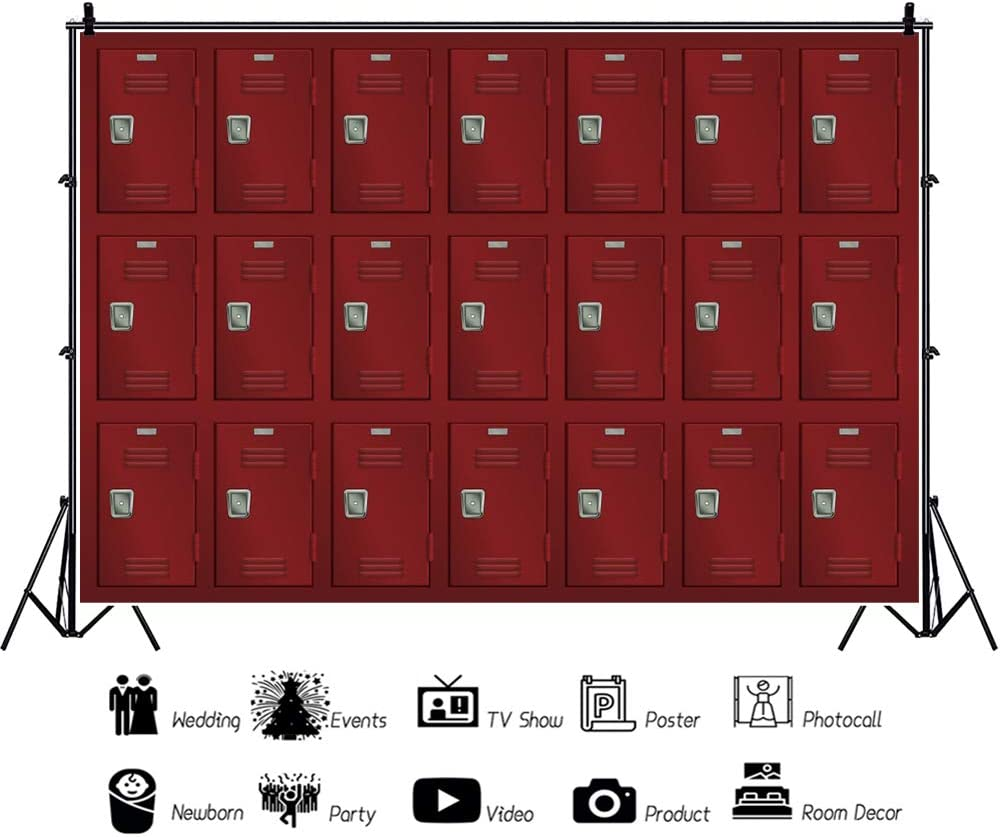 YEELE Red Deposit Lockers Backdrop 10x8ft Old Shabby Lockers Interior Photography Background Vintage Dressing Room Interior Locked Room Safety Lockable Cells School Student Photoshoot Props Wallpaper