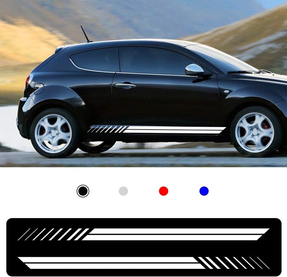 Cobear Auto Seitenstreifen Seitenaufkleber Aufkleber Für A Lfa Romeo Giulia Mito Spide Rennstreifen Racing Decals Viperstreifen Weiß 2 Stück Auto