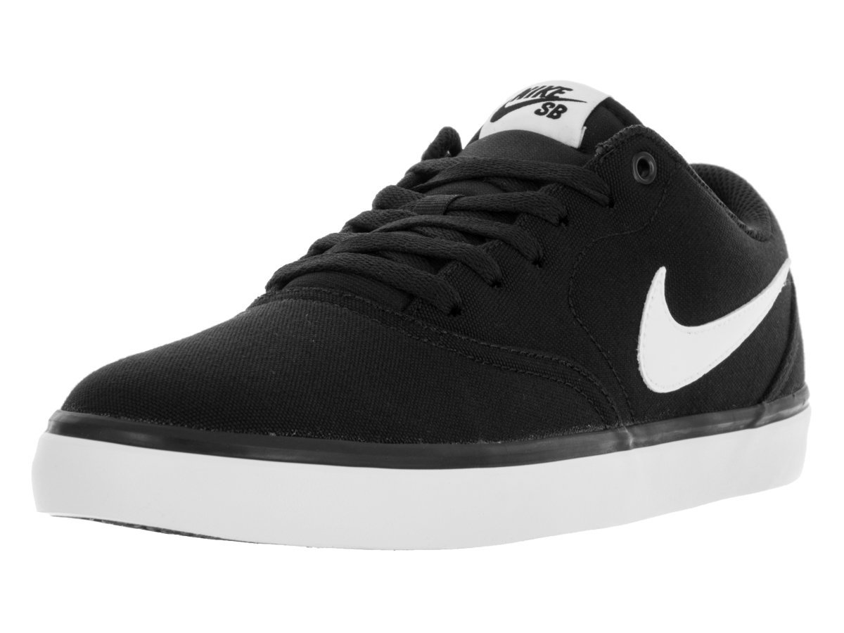 Nike Men's SB Check Solarsoft Canvas Skateboarding Shoe Black/White 10